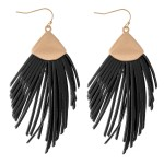 Wholesale faux Leather Tassel Statement Drop Earrings L
