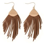 Wholesale faux Leather Tassel Statement Drop Earrings L