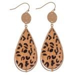 Wholesale hammered Leopard Print Cow Hide Teardrop Earrings L
