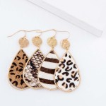 Wholesale hammered Faux Leather Snakeskin Teardrop Earrings L