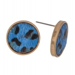 Wholesale genuine Leather Leopard Print Button Stud Earrings Diameter