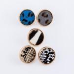 Wholesale genuine Leather Leopard Print Button Stud Earrings Diameter