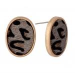 Wholesale genuine Leather Leopard Print Cow Hide Oval Stud Earrings L