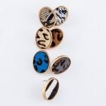 Wholesale genuine Leather Zebra Print Cow Hide Oval Stud Earrings L