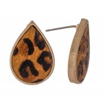 Wholesale genuine Leather Leopard Print Cow Hide Teardrop Stud Earrings L