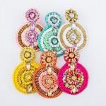 Wholesale oversized Seed Beaded Felt Drop Earrings Rhinestone Gemstones Thread W