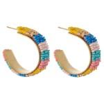 Wholesale seed Beaded Color Block Statement Hoop Earrings Diameter