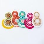 Wholesale oversized Seed Beaded Felt Drop Earrings L