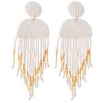Wholesale oversized Seed Beaded Felt Tassel Drop Earrings L