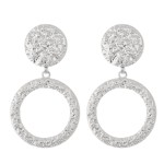 Wholesale abstract Metal Textured Statement Drop Earrings L Diameter