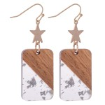 Wholesale half Half Resin Drop Earrings Gold Star Glitter Accents L