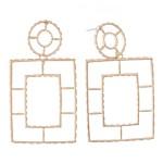 Wholesale metal Cut Out Square Drop Earrings L