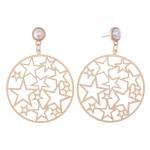 Wholesale circular Star Filigree Drop Earrings Gold Pearl Accents L Diameter