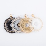 Wholesale thread Woven Circular Drop Earring Beaded Trim Metallic Accents L Diam