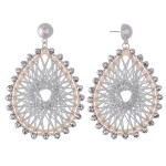 Wholesale thread Woven Teardrop Earrings Beaded Trim Metallic Accents L