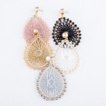 Wholesale thread Woven Teardrop Earrings Beaded Trim Metallic Accents L