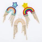 Wholesale seed Beaded Rainbow Felt Rhinestone Tassel Statement Earrings L W