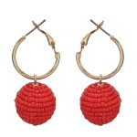Wholesale seed Beaded Ball Drop Hoop Earrings Gold Ball mm Hoop Diameter Long