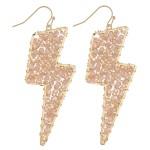 Wholesale beaded Lightning Bolt Drop Earrings Gold Long