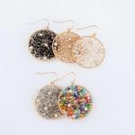 Wholesale wire Beaded Rhinestone Drop Earrings Long Diameter