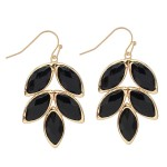 Wholesale crystal Leaf Drop Earrings Gold Long