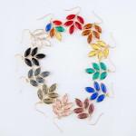 Wholesale crystal Leaf Drop Earrings Gold Long