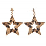 Wholesale metal Encased Leopard Print Star Drop Earrings Gold L