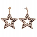 Wholesale metal Encased Zebra Print Star Drop Earrings Gold L