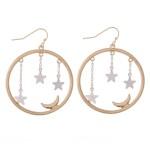 Wholesale two Star Dangle Moon Drop Earrings Diameter