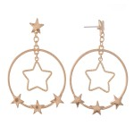 Wholesale circular Drop Earrings Nested Star Detail Star Accents L