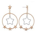 Wholesale two Circular Drop Earrings Gold Nested Star Detail Star Accents L