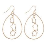 Wholesale plated Brass Teardrop Earrings Star Nested Detail L