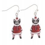 Wholesale enamel Christmas Cat Drop Earrings