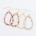 Wholesale internal Beaded Brass Teardrop Earrings L