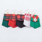 Wholesale faux Leather Plaid Christmas Tassel Drop Earrings Faux Leather L