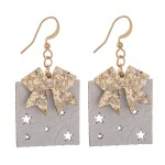 Wholesale two Glitter Christmas Present Drop Earrings Star Punch Out Details Fau