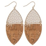 Wholesale filigree Cork Drop Earrings Gold Long
