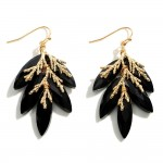 Wholesale crystal Drop Earrings Gold Leaf Accents