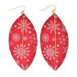 Wholesale faux Leather Christmas Feather Statement Earrings Gold Bar Accent Snow
