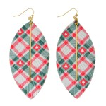 Wholesale faux Leather Christmas Plaid Feather Statement Earrings Gold Bar Accen