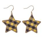 Wholesale metal Encased Faux Leather Buffalo Check Star Drop Earrings L