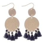 Wholesale metallic Shimmer Disc Tassel Earrings Gold L