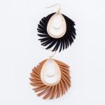 Wholesale faux Leather Feather Teardrop Earrings Gold L