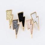 Wholesale lightning Bolt Druzy Stud Earrings