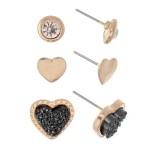 Wholesale rhinestone Druzy Heart Stud Earring Set Gold Pair Per Set cm