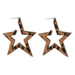 Wholesale metal Encased Genuine Leather Leopard Print Star Hoop Earrings Gold Lo