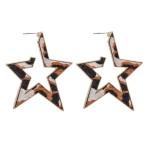 Wholesale metal Encased Genuine Leather Leopard Print Star Hoop Earrings Gold Lo
