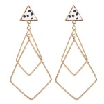 Wholesale genuine Leather Cheetah Print Triangle Statement Earrings Gold Long