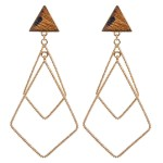 Wholesale genuine Leather Leopard Print Triangle Statement Earrings Gold Long
