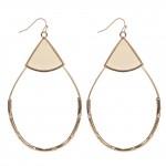 Wholesale faux Leather Teardrop Statement Earrings Gold Long